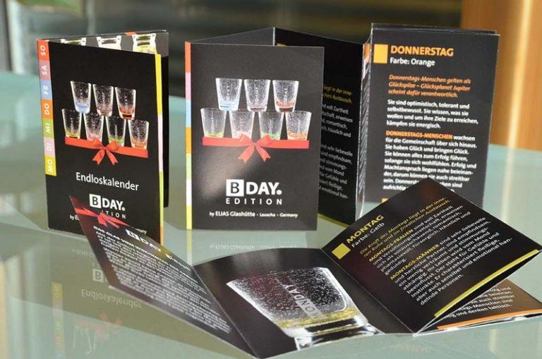 Flyer für Geburtstagsgläser ELIAS Glashütte