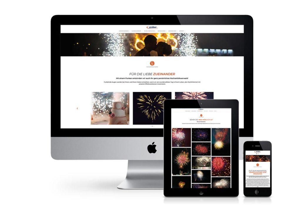 responsives Design der Internetseite von Ströbel Feuerwerke am PC, Tablet und Handy