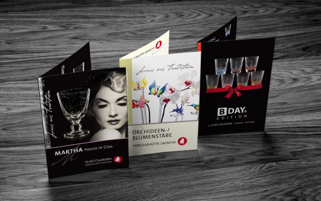 3 Falzflyer der Farbglashütte Lausche aus den Serien Martha, BDAY Edition und Orchideenstäbe