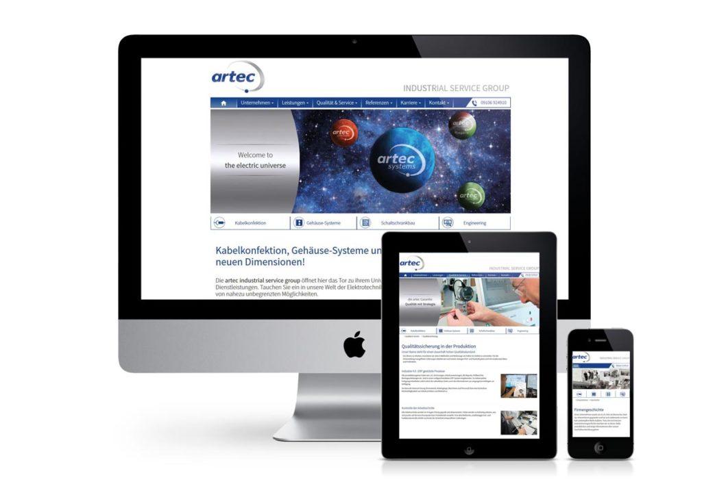 responsives Design der Internetseite von Artec Systems am PC, Tablet und Handy
