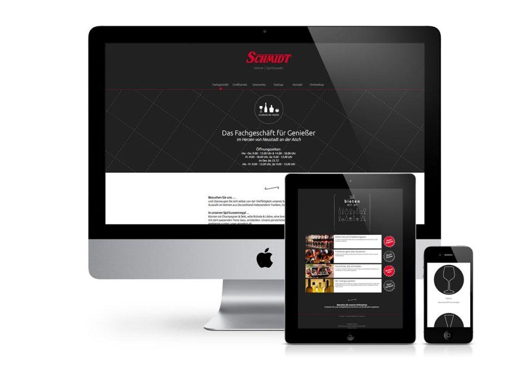 responsives Design der Internetseite von Schmidt am PC, Tablet und Handy