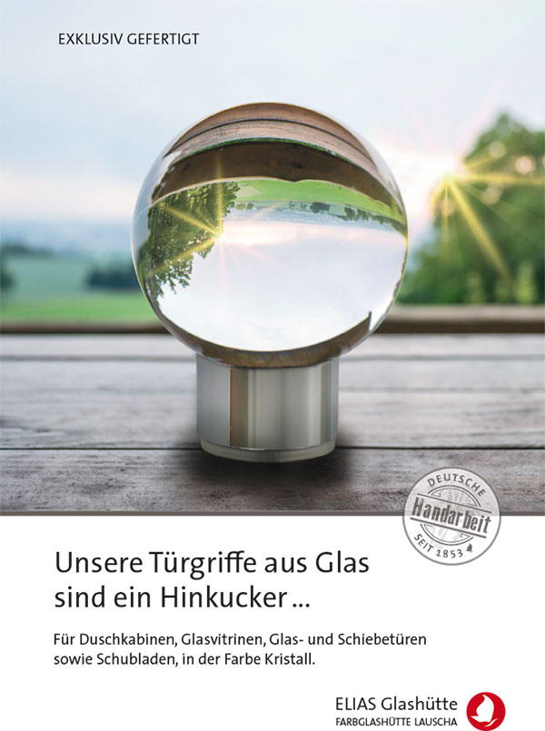 Flyer, Zertifikat Türgriffe aus Glas