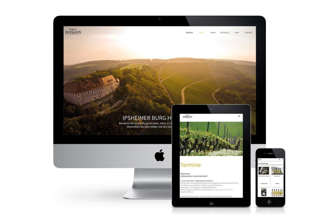 responsives Design der Internetseite vom Weingut Hofmann am PC, Tablet und Handy