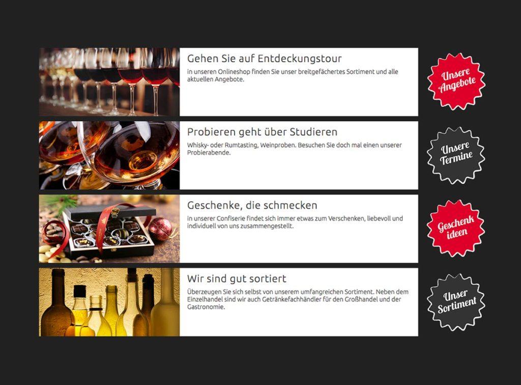 Übersicht Internetseite mit Bildern, Texten und Buttons