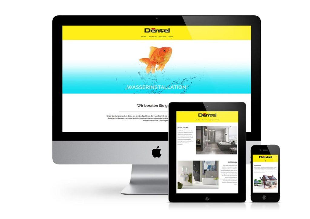 responsives Design der Internetseite von der Firma Dentel am PC, Tablet und Handy