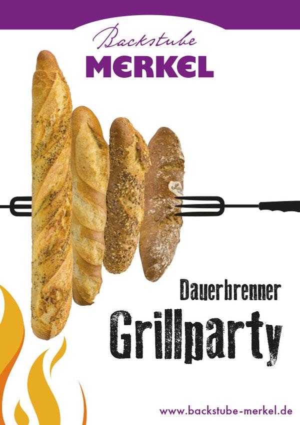 Aktionsplakat Dauerbrenner Grillparty von Backstube Merkel