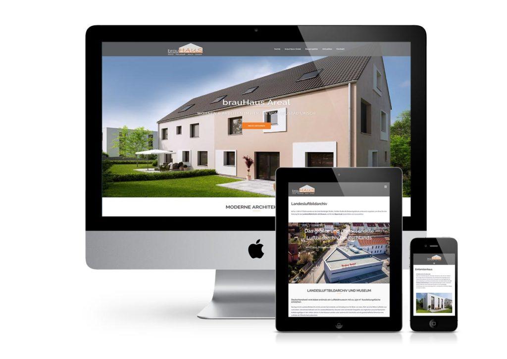 responsives Design der Internetseite vom brauhaus areal am PC, Tablet und Handy