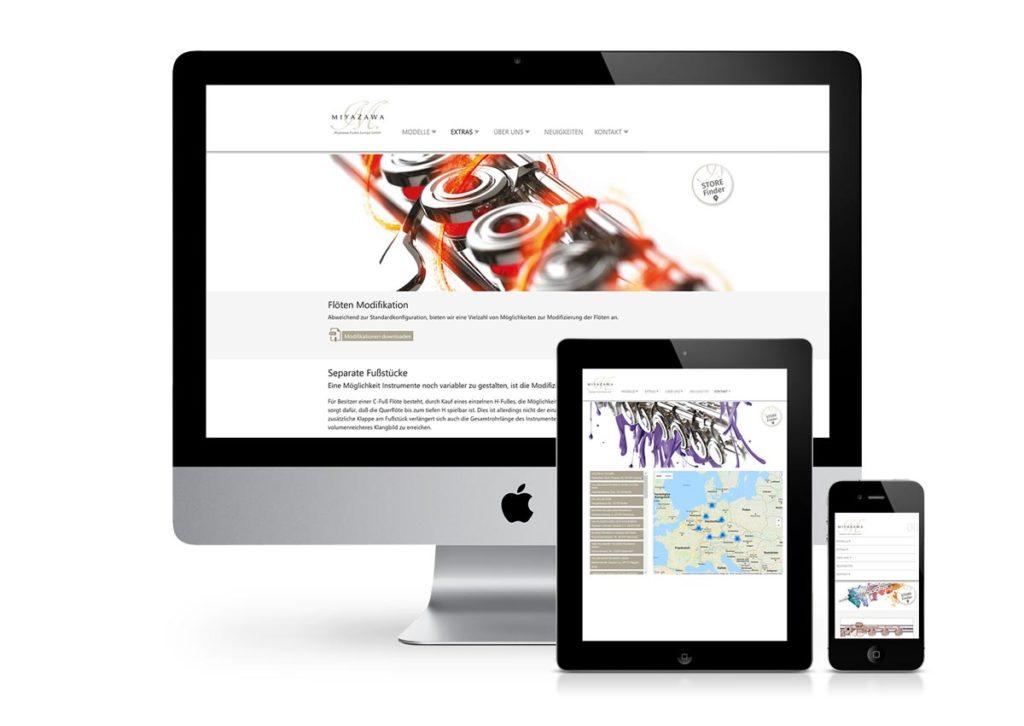 responsives Design der Internetseite von Miyazawa am PC, Tablet und Handy
