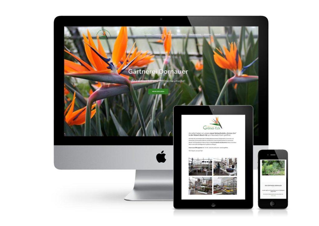 responsives Design der Internetseite von der Gärtnerei Dornauer am PC, Tablet und Handy