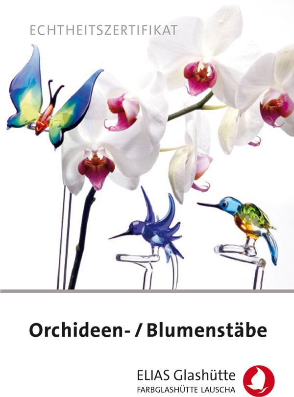 Flyer, Zertifikat Orchideen-/Blumenstäbe