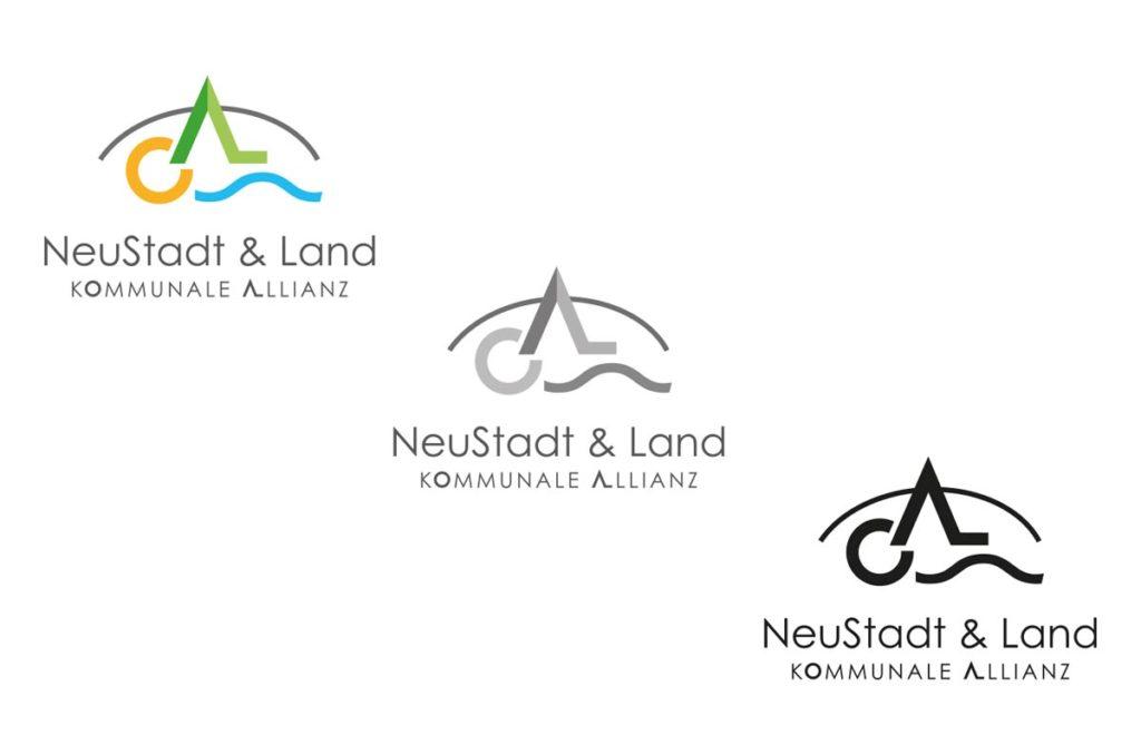 Logo farbig, schwarz-weiß, negativ
