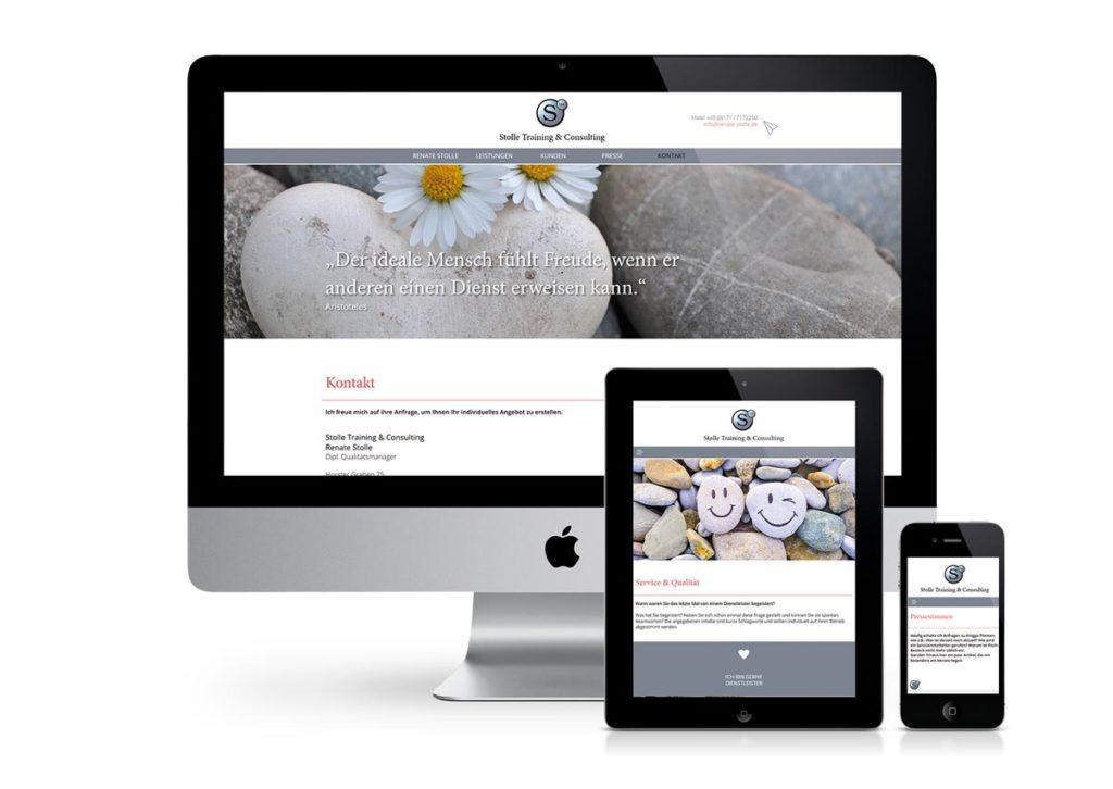 responsives Design der Internetseite von Stolle am PC, Tablet und Handy