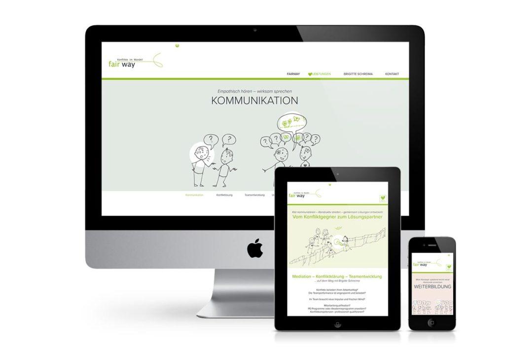 responsives Design der Internetseite von fairway am PC, Tablet und Handy
