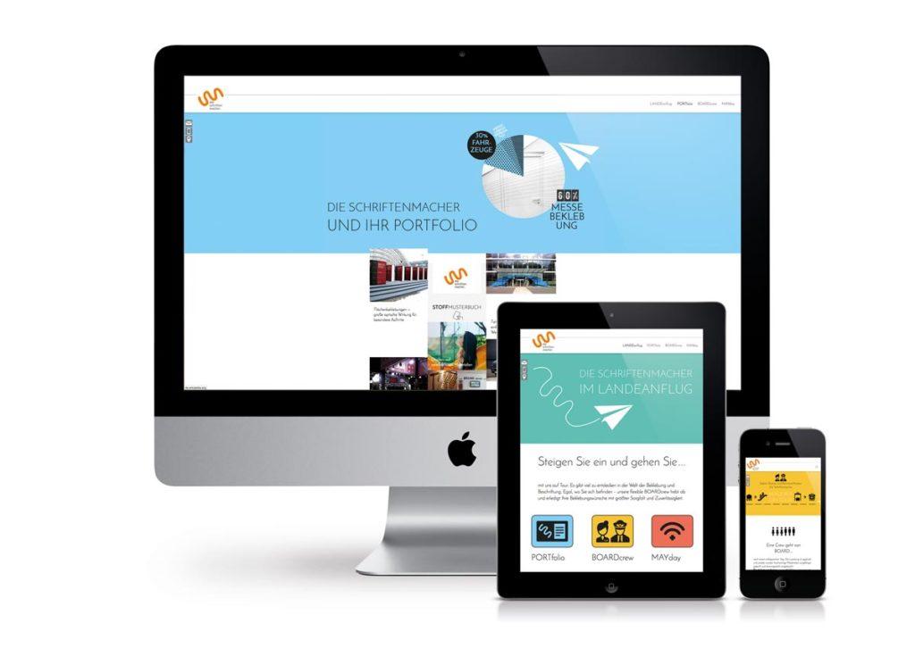 responsives Design der Internetseite von den Schriftenmachern am PC, Tablet und Handy