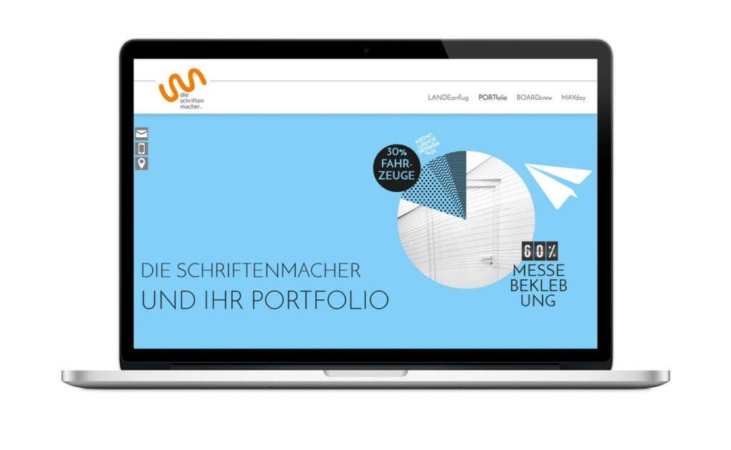 Design der Internetseite von Schriftenmacher am Laptop