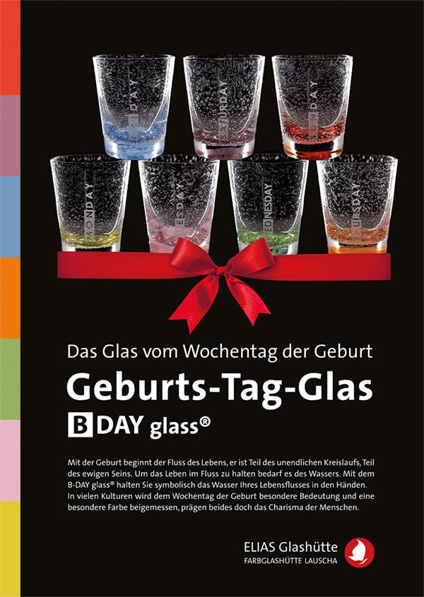 Flyer, Zertifikat Geburts-Tag-Glas