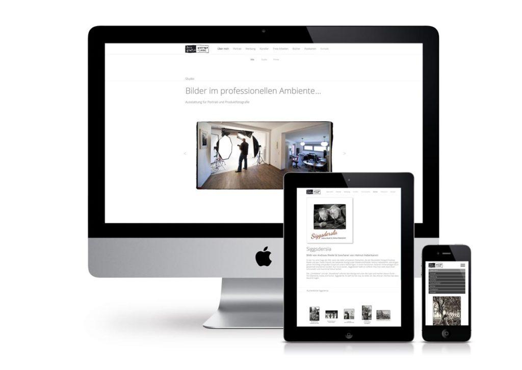 responsives Design der Internetseite von Fotografie Riedel am PC, Tablet und Handy