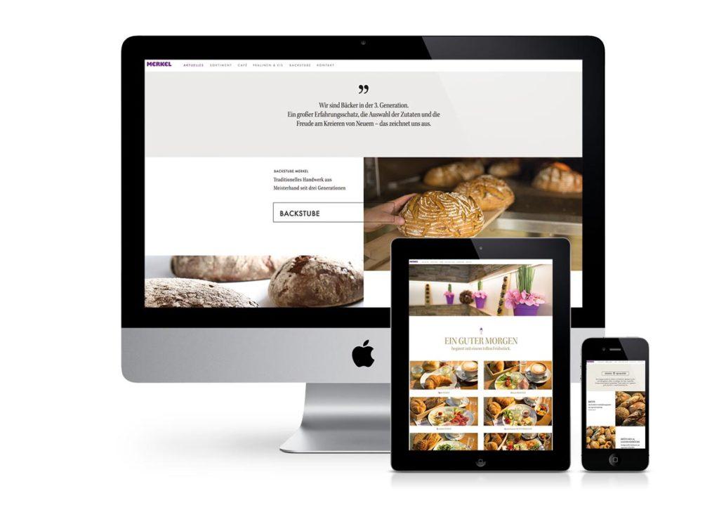 responsives Design der Internetseite von Backstube Merkel am PC, Tablet und Handy
