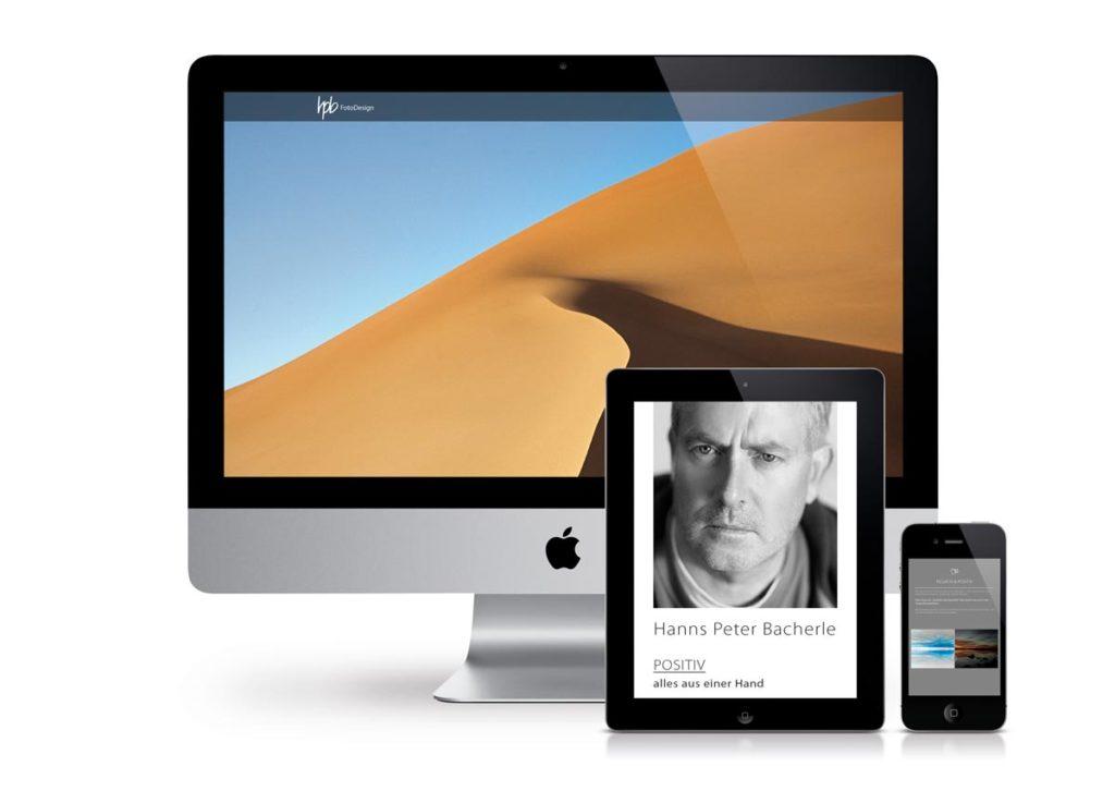 responsives Design der Internetseite von HP Bacherle am PC, Tablet und Handy