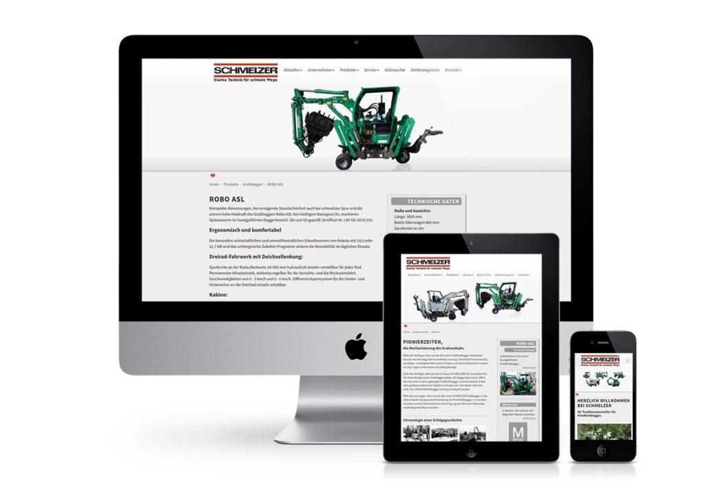 responsives Design der Internetseite von Schmelzer am PC, Tablet und Handy