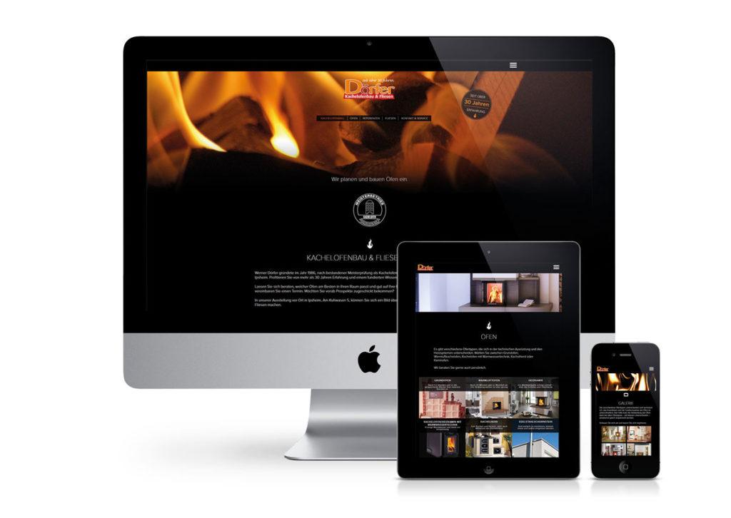 responsives Design der Internetseite von Kachelofenbau Dörfer am PC, Tablet und Handy