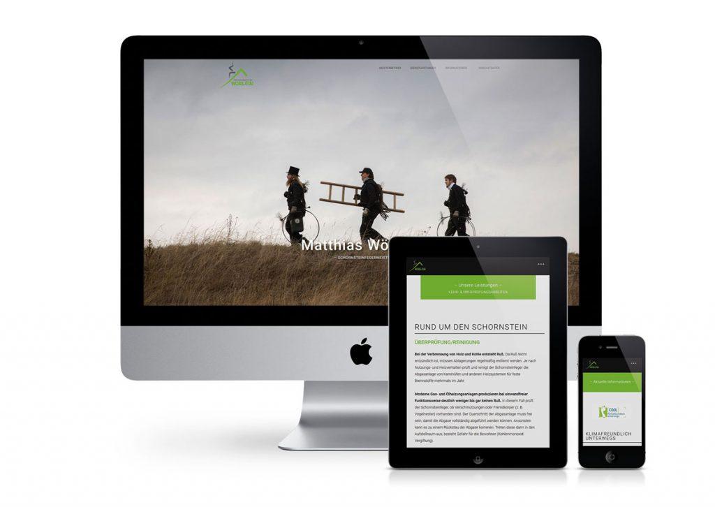 responsives Design der Internetseite vom Schornsteinfegermeister Wörlein am PC, Tablet und Handy