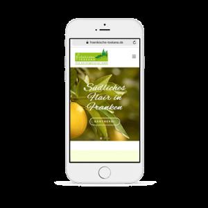 responsives Design der Internetseite der Fränkischen Toskana am Handy
