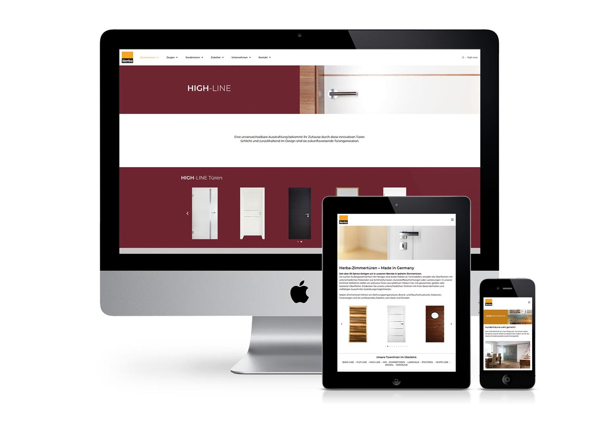 responsives Design der Internetseite am PC, Tablet und Handy
