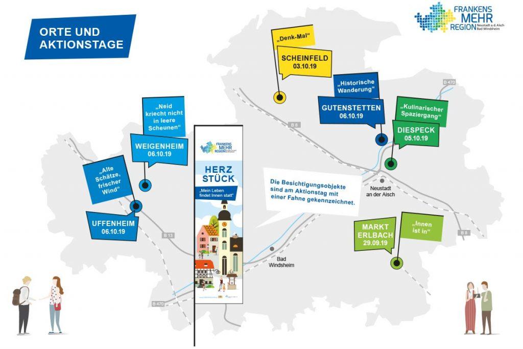 Landkreiskarte mit Orten, die an den Aktionstage Innerorte 2019 teilnehmen