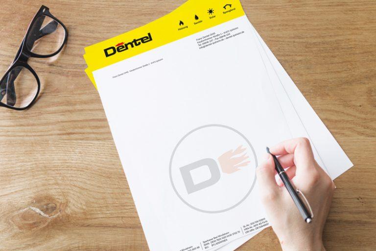 Briefpapier für die Firma Dentel