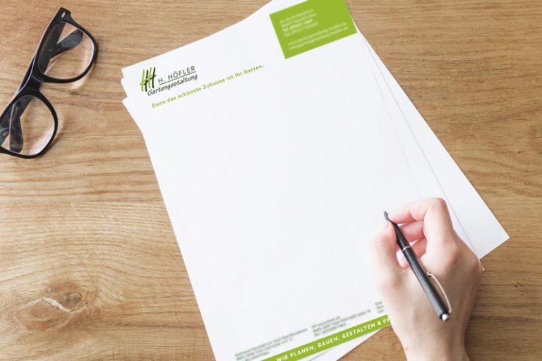 Gestaltung des Briefpapieres