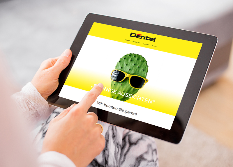 Internetseite der Firma Dentel am Tablet