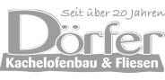 "Logo ""Dörfer Kachelofenbau"" in Graustufen"