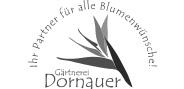 """Logo """"Gärtnerei Dornauer"""" in Graustufen"""