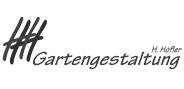 """Logo """"H.Höfler Gartengestaltung"""" in Graustufen"""