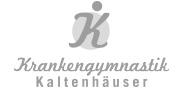 "Logo ""Krankengymnastik Kaltenhäuser"" in Graustufen"