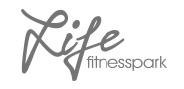 "Logo ""Life fitnesspark"" in Graustufen"