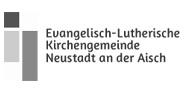 """Logo """"ev. Kirche Neustadt a.d.Aisch"""" in Graustufen"""
