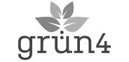 """Logo """"grün4"""" in Graustufen"""